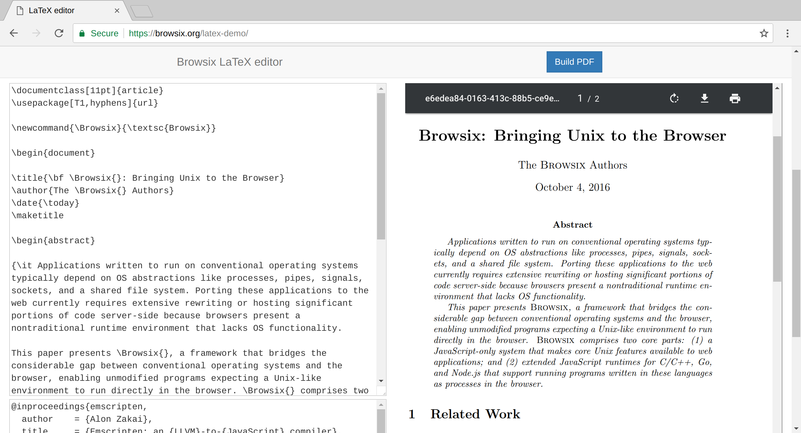 Browsix: Unix in the browser tab